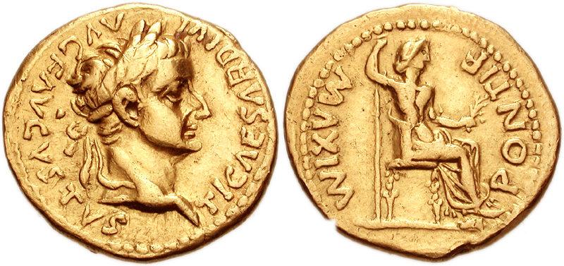 Moneta aurea di Tiberio e Livia