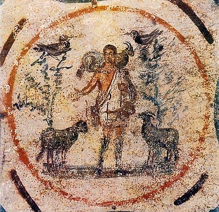 Gesù come buon pastore, dipinto in una catacomba